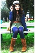Zara boots - dub qnp dress - united colors of benetton coat - H&M hat - Zara bag