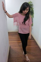 black Mango leggings - pink From China top - light pink rosette Tomato sandals