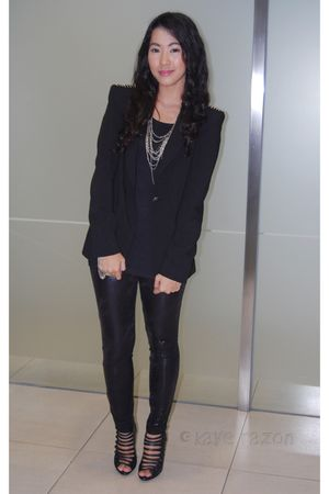 black Blazer blazer - black strappy Shoes shoes