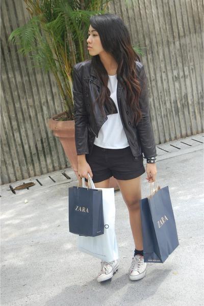 black balmain inspired jacket - white own design top - black supree shorts - whi