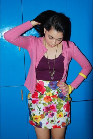 white frou frou skirt - pink People are People cardigan - purple blouse - gold n