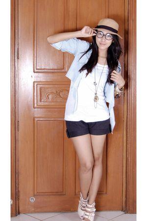 white Forever 21 shirt - blue hongkong blazer - white bought online shoes - blac
