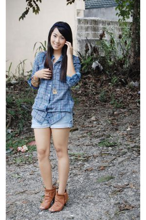 blue Zara Trf shirt - blue hollister shorts - brown bought online boots - gold a