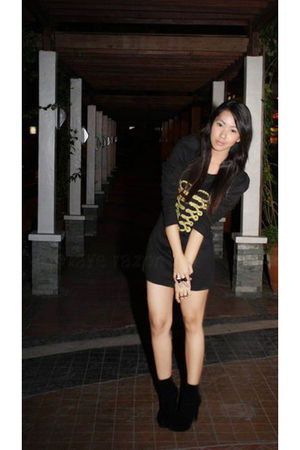 black Pink Manila dress - black shoes - black Forever 21 accessories - black bou