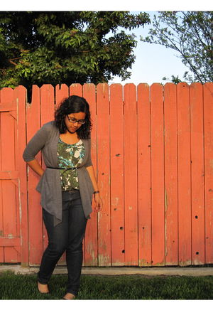 green Old Navy blouse - gray Burlington cardigan - blue Anchor Blue jeans - blac