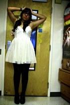cream Forever 21 dress - black tights - black heels
