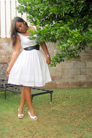 white Delias dress - black belt - white Old Navy shoes - silver Forever 21 brace