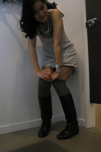 dress - pedder red boots - H&M socks