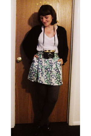 blue Forever 21 skirt - black Macys cardigan - white Forever 21 t-shirt