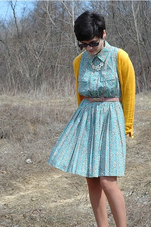 light blue rue21 dress - white rue21 necklace - yellow Charlotte Russe cardigan