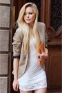 White-lace-h-m-dress-beige-zara-blazer-light-orange-leather-bag-louis-vuitto