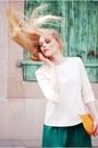 Orange-louis-vuitton-bag-teal-zara-skirt-ivory-zara-top-black-bally-heels