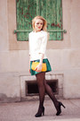 Orange-louis-vuitton-bag-zara-top-zara-skirt-bally-heels