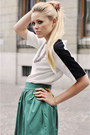 White-zara-shirt-silver-claires-necklace-turquoise-blue-zara-skirt-black-m