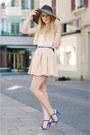 Zara-hat-yes-or-no-shirt-zara-skirt-zara-heels-thomas-sabot-bracelet