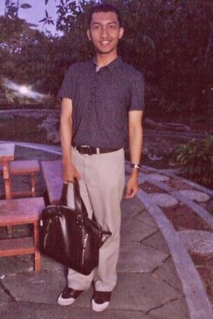 black-polkadot Top Man shirt - signar shoes - brown bag Pedro bag - Hermes belt