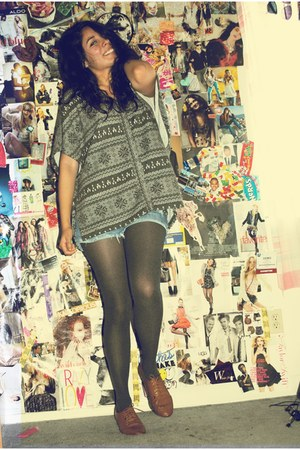 oxford Urban Outfitters shoes - poncho Forever 21 sweater - Target tights - deni