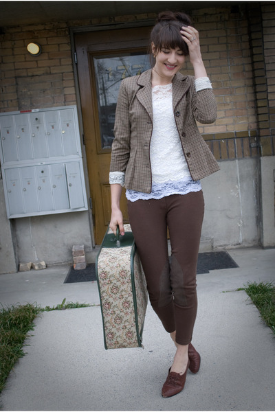 thrifted shoes - thirfted blazer - thirfted blouse - gift pants