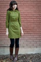 forest green vintage dress - brown vintage boots