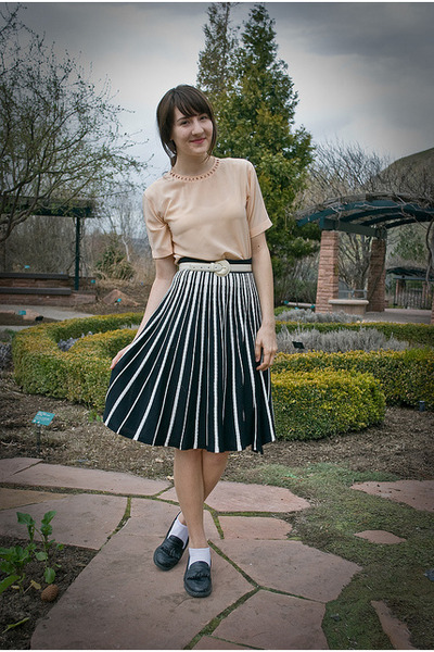 thrifted vintage blouse - thrifted skirt - thrifted vintage loafers - thrifted v