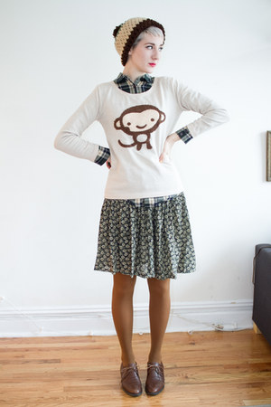 from japan sweater - thrifted shoes - Etsy hat - thrifted skirt