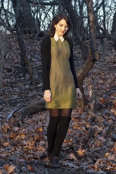 last chance dress - thrifted blouse - H&M stockings - Zara cardigan