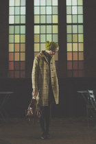 dark brown vintage shoes - olive green vintage coat - olive green H&M hat