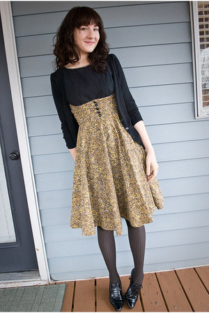 vintage dress - Target tights - Gadzooks cardigan