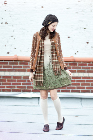 pibs xchange dress - gift scarf - Syrup cardigan - thrifted vintage loafers