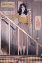vintage skirt - Etsy scarf - last chance cardigan - vintage belt