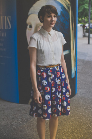 thrifted vintage skirt - thrifted vintage blouse