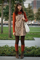 vintage jumper - vintage boots - thrifted sweater - Forever 21 stockings
