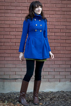 brown vintage boots - blue FOR SALE coat