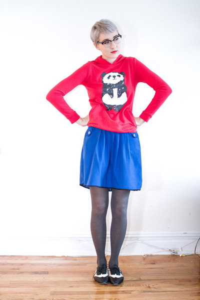Japan hoodie - thrifted shoes - Vintage Thrifted skirt
