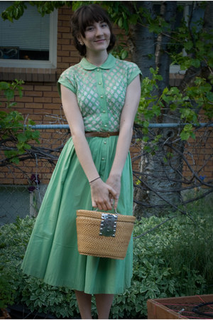 aquamarine vintage dress - brown vintage bag - light brown vintage belt