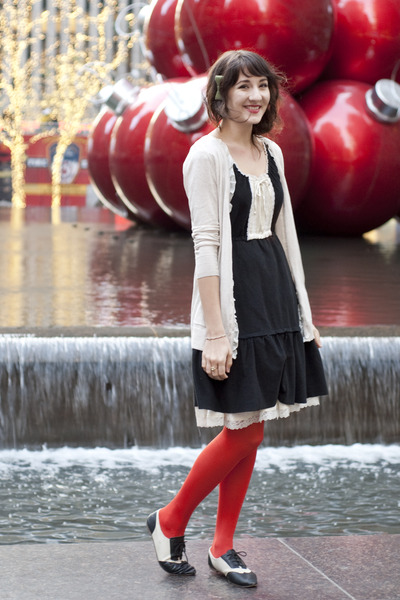 black dress vintage dress - red H&M tights - ivory Mystery cardigan