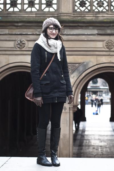 Tahari boots - Ebay coat - gift hat - Etsy scarf