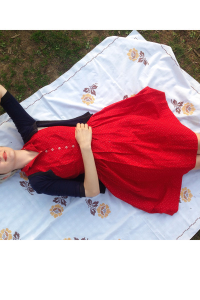 red vintage from etsy dress - navy thrifted cardigan