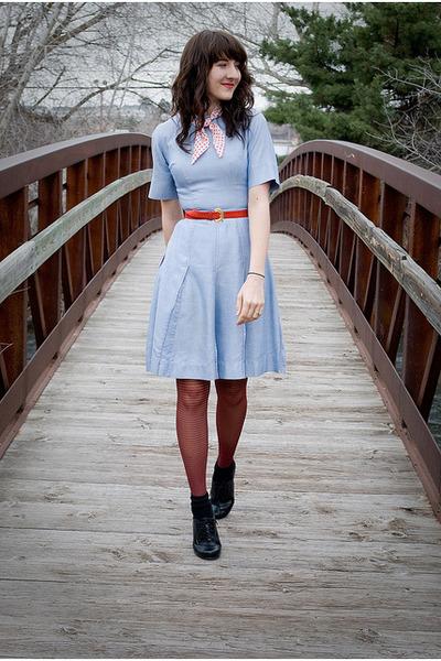 black sears shoes - light blue vintage dress - red Secret tights - cream Grandma