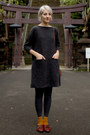 Niko-and-dress-mustard-brown-harajuku-socks-thrifted-vintage-loafers