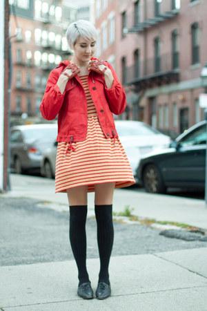 vintage shoes - thrifted dress - Anthropologie jacket - 3 coins socks