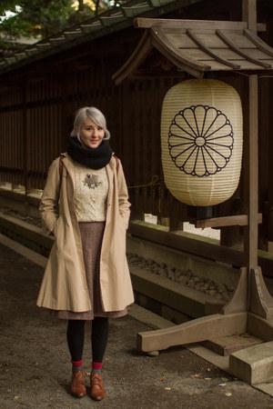 scottish handmade sweater - vintage shoes - vintage coat - H&M scarf