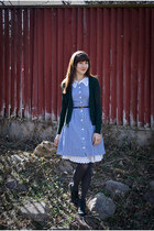 thrifted boots - refashioned dress - thrifted belt - J Crew cardigan