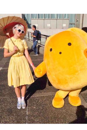 yellow vintage dress - silver Monki shoes - white Sheinside sunglasses