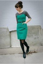 thrifted dress - Ross shirt - gift heels - thirfted belt