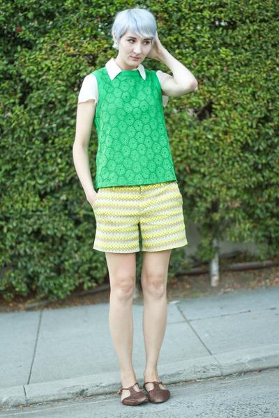 Joe Fresh blouse - vintage blouse - Joe Fresh shorts - vintage flats