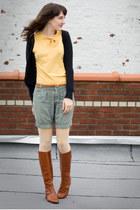 vintage boots - Urban Outfitters shorts - vintage blouse - Gadzooks cardigan