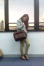 light blue blazer - light brown bag - camel pants - eggshell top - navy heels