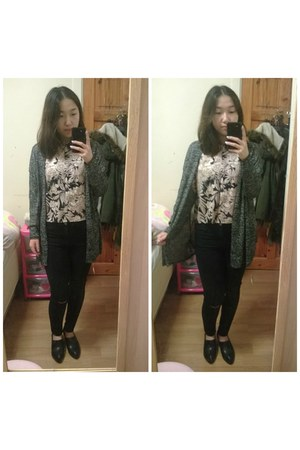 H&M shirt - Glamorous jeans - H&M cardigan - Nelly flats