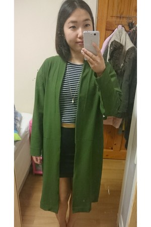 black H&M skirt - olive green OhMylove coat - navy striped top new look top